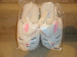 Classic Bunny Slippers -Sizes for adults White and Pink House Shoes S or M or L