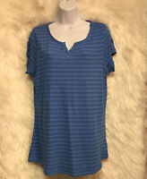 ND New Directions Weekend Blue Striped Split Neck Tee Top Sz M - EUC
