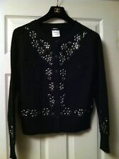 CHANEL 12C NEW Black Beaded Cashmere Jacket Black Enamel Stud Embellishment FR42