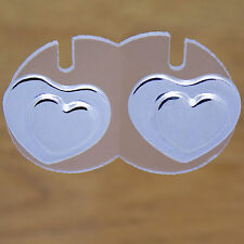 Cute Double Heart Design Stud Earrings Charming Solid 925 Sterling Silver Lovely