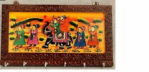 Rajasthani Key Holder Wooden Indian Art Work Wall Key Hanger 6 Hooks Traditional