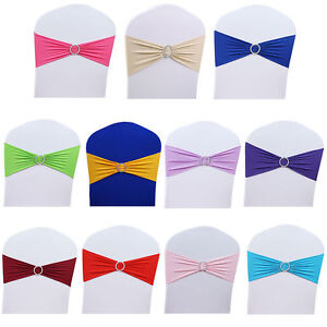 100PCS Spandex Stretch Wedding Chair Cover Sashes Bow Band Party Banquet New Hot