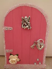 MAGICAL  PINK GLITTER EDGE FAIRY DOOR, WITH TINKERBELL HAND PAINTED