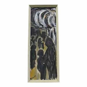 Vintage Modern Abstract C. Dengler Dark Figures Oil Painting on Canvas