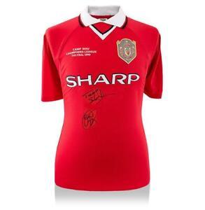 Ole Gunnar Solskjaer & Teddy Sheringham Front Signed Manchester United 1999 Home