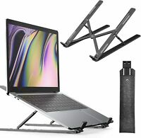 Portable Laptop Stand Holder with Carry Bag,6-Adjustable Height Aluminum (Black)