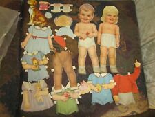 cutout lot of 2 vintage  cute boy & girl paper doll and  fashions