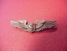 "ORIGINAL WWII USAAF SCARCE SHIRT SIZE 2"" SERVICE PILOT WINGS - AMICO STERLING"
