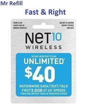 Net10 $40/Month Plan Refill: Unlimted Talk/Text/DATA, fast & right