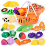 6-24pc Kids Pretend Role Play Kitchen Fruit Vegetable Food Toy Cutting Set Gift