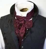 Brummel Regency Victorian Ascot Cravat Tie - Extra LONG Wine Dupioni Silk 3x77