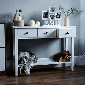 Vida Designs Windsor 3 Drawer Console Table With Shelf, White Wooden Hallway