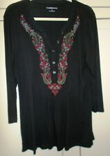 CROFT& BARROW Women's Black Peasant Knit Tunic Top SZ L~ Embroidered Long Sleeve