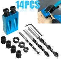 14pcs 15° Pocket Hole Screw Jig + Dowel Drill Set Carpenters Wood Joint Tool kit