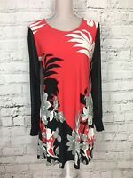 Julien Macdonald Women's Dress Patterned Long Sleeve Mini Red Black UK 14 US 10
