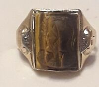 Vintage 10k Gold Carved Tiger's Eye & Diamond Double Roman Cameo Ring -