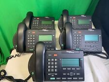Lot of 5 Nortel Networks M3903 Charcoal Telephones w/ headsets, cords