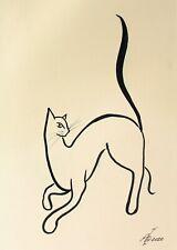 "original BLACK INK DRAWING 12""х8"" Modern Russian Art by Pronkin minimalism CAT 5"