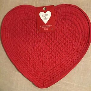 HEART + HOME  PLACEMATS RED HEARTS (2)  100% COTTON NIP