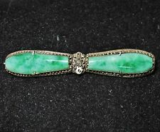 """2.3"""" Antique Chinese Silver Export Brooch Pin with Two 24mm Green JADEITE Jade"""