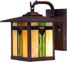 Exterior Outdoor Porch 1-Light Wall Lantern Tiffany Style Art Glass Aged Bronze