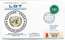 FFC 1970 LOT First Flight Geneve Varsovie REGISTERED Nations Unies TU-134