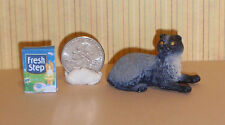 Dollhouse Miniature Pet Cat black/gray Persian 1:12 scale G35 H Dollys Gallery