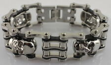 New Chrome Silver Harley Black Stainless Steel Motorcycle Chain Bracelet Bikers