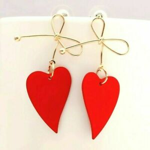 Big Metal Bowknot 5 Colours And Gold Heart Statement Dangle Drop Earrings **UK**