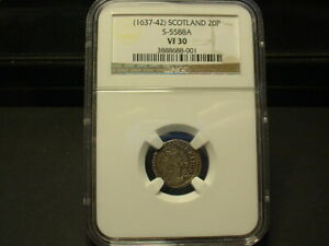 1637-42 SCOTLAND 20 P SILVER COIN NGC-VF-30 CERTIFIED! RARE THIS NICE!