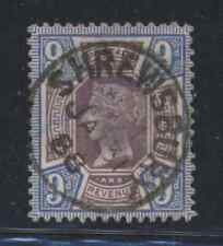 Great Britain 9d Victoria 1888 Shrewsbury 'socked on the nose' Cds cancel