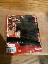Flapper Headband Black Stretch Sequin Band W/ Ostrich Feather & Faux Jewel