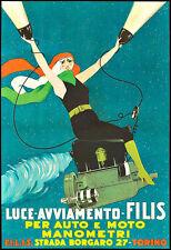 Art Ad Luce Avviamento Filis per Auto e Moto   Deco Poster Print