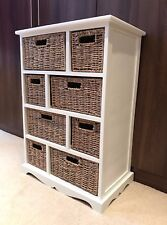 Brown Wicker Rattan Chest of Drawers Furniture White Bathroom Storage Unit