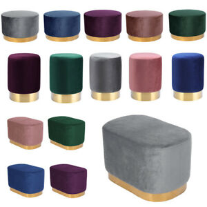 Velvet Round Footstool Soft Dressing Table Stool Padded Footrest Makeup Chairs
