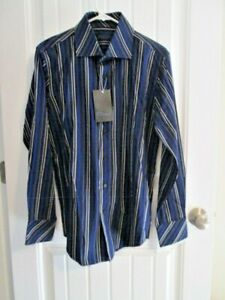 7 DIAMONDS $89 Black w/Royal & Gray Striped 100% Cotton Dress Shirt Med NWT