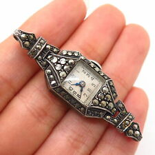 925 Sterling Silver Antique Art-Deco Real Marcasite Gem Wrist Watch Central Part