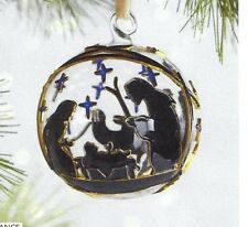 Pier 1 imports Cloisonne Nativity Glass & Brass Christmas Ornament New in Box