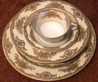 Noritake OCCUPIED JAPAN ~ RARE Nadine Gold rimmed dinnerware ~ 6 piece set