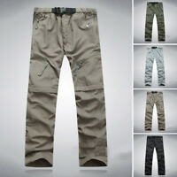Men's Fast Dry Zip Off Convertible Pants Shorts Outdoor Hiking Camping Trousers