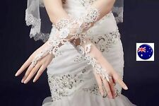 Women Lady Opera Bridal Fancy Crochet Wedding Party Cream white Arm long Gloves