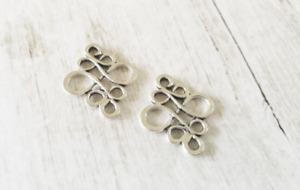 4 Chandelier Earring Findings Antique Silver Tone Knot Pendants Drops Swirl