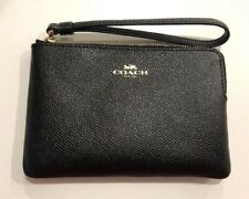 NWT Coach Black Crossgrain Leather Wristlet $75