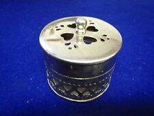 Round metal  TRINKET BOX , POPOURI BOX or CANDLE BOX with heart cutouts