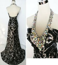 NWT NIGHT MOVES $398 Black / Silver Formal Prom Gown 4