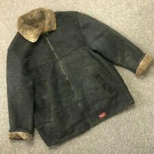MENS SHEARLING JACKET COAT B3 SHEEPSKIN LEATHER CHEST 44-46 SIZE L/XL BLACK