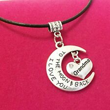 Antique Silver Plt 'I Love You To The Moon & Back Grandma' Necklace Pendant Gift