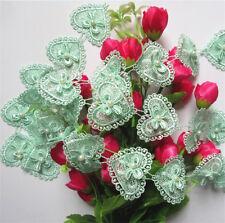10pcs Heart Bow Pearl Lace Trim Wedding Bridal Ribbon Applique DIY Sewing Craft