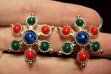 vintage blue red green CARNIVAL CABOCHON starburst flower clip earrings Sarah Co
