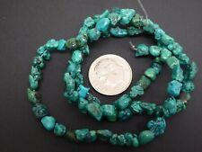 "Natural Blue Green Hubei Turquoise TINY Freeform Nugget Gemstone Bead Std. 16"""